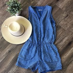 Anthropologie HeiHei Dottie Denim Romper